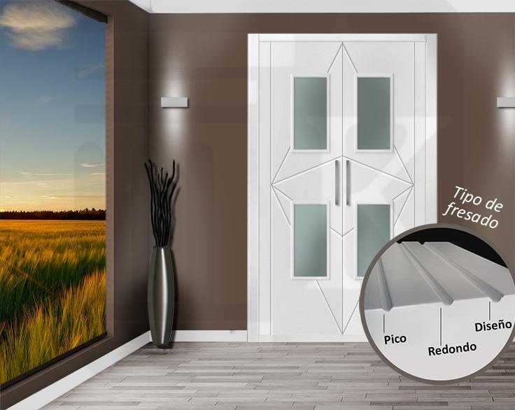 Puerta para armario abatible con cristales - ÁMSTERDAM V2