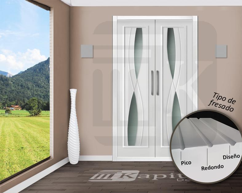 Puerta para armario abatible con cristales - DAMASCO V