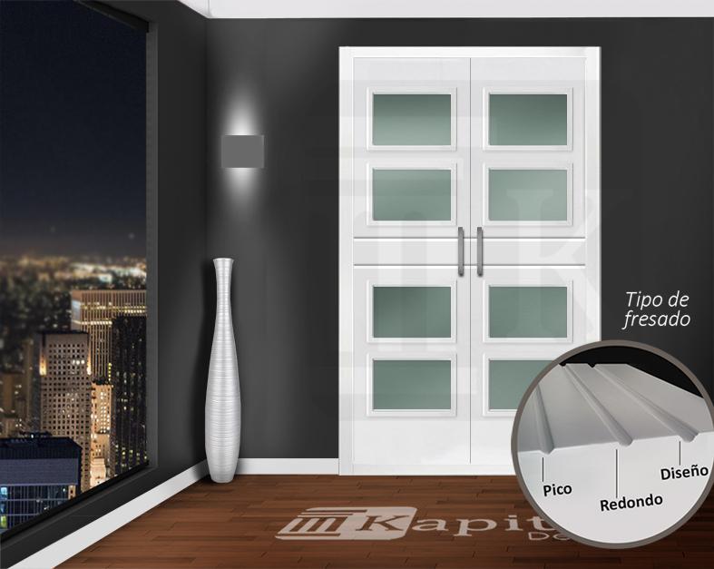 Puerta para armario abatible con cristales - VALENCIA 4V